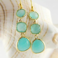 Gold Framed Bezel Set Aqua Mint Opal Earrings, Triple Stone, Wedding Jewelry, Bridesmaids gift, Chic, Stylish, Fashion, Trendy Earrings,