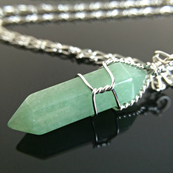 Crystal Necklace Green Aventurine Wire Wrapped Crystal Necklace or Choker crystal pendant Zelda Green