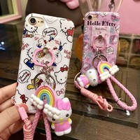 Cartoon KT cat case For iPhone 7 7plus 6 plus hello kitty full tpu back cover for iphone7 6splus case Toys  pendant ring support