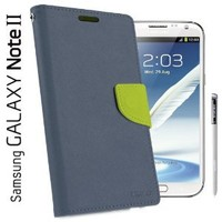 Caseology Multi-Purpose Premium PU Leather Wallet Case for Samsung Galaxy Note 2 (Blue / Lime Green)