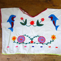 Embroidered Mexican Shirt Cropped White Cotton Top Boxy Hippie Tank Boho 80s Ethnic Floral Top Fish Dolphins DELSS Small Medium Large