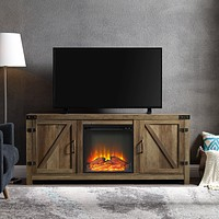 """WE Furniture Farmhouse Barn Wood Fireplace Stand for TV's up to 64"""" Flat Screen Living Room Storage Cabinet Doors and Shelves Entertainment Center, 58 Inch, Reclaimed Barnwood Fireplace TV Stand"""