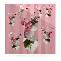 """Suzanne Carter """"Floral Deer"""" Pink White Luxe Square Panel"""
