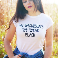 American Horror Story Coven Graphic Tee On Wednesdays We Wear Black Crop Top Tumblr Hipster