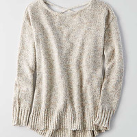 AEO Lace-Up Back Sweater , Brown