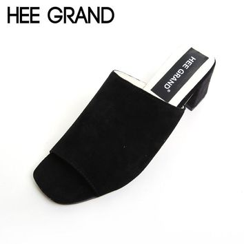 HEE GRAND Flock Summer Sandals Women Simple Square Peep-toe Slides Thick Heel Summer Shoes For Woman XWZ3532