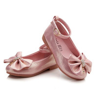 Children Princess Shoes Pink /Gold/Silvers Band Soft Sole PU Leather Fashion Bowknot Rhinestone Flower Girls Dress Shoes