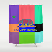 California Republic Abstract Colorful Shower Curtain by NorCal
