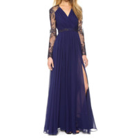 Sexy Lace Long Chiffon Evening Formal Party Cocktail Dress Bridesmaid Prom Gown