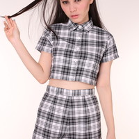 Glitters For Dinner — Made To Order - Katie Tartan Top & Shorts Set in Grey