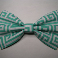 Greek key design fabric hair bow, Fabric Bow, Hair Bow for Girls, Bows, Teal and White hair bow