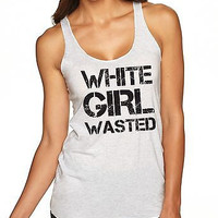 White Girl Wasted Black Print Women's Triblend Tanktop