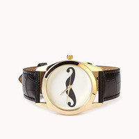FOREVER 21 Quirky Mustache Watch Gold/Black One