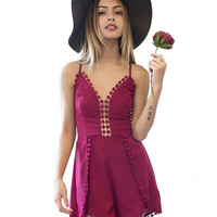 Strappy Sleeveless Backless Lace Beach Romper With Tassels