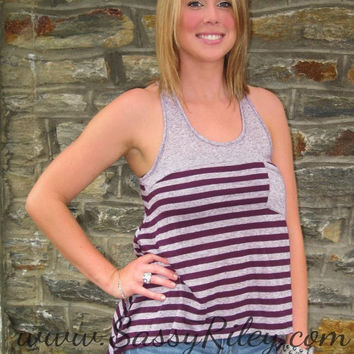 Wine Striped Racer Back Tank