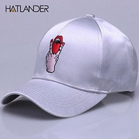 Silk baseball caps hip hop snap back cap for girls boys embroidery red lip curved hats women