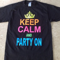 Printed T-Shirt- Keep Calm And Party On