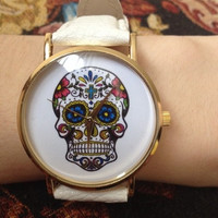 Skull Watches For Women Leather Strap = 1956421572