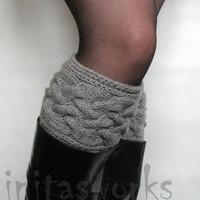 FALL SALE Gray Boot Cuff Boot Toppers Leg Warmers Boot Socks Knit Legwarmers Cable Knitted