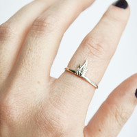 Fire Ring, Yellow Brass Ring, Sterling Silver Ring, 14K Yellow Gold Ring, Thin Ring, Flame Ring