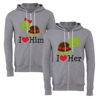 i love her i love him turtle matching couple zipper hoodie