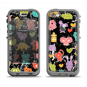 The Furry Fun-Colored Critters Pattern Apple iPhone 5c LifeProof Nuud Case Skin Set