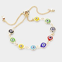 Evil Eye Link Adjustable Cinch Bracelet