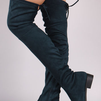 "Suede Drawstring-Tie Block Heeled Riding Over-The-Knee Boots Thigh High Boots Heel Height: 1.25"" Shaft Length: 25"" (including heel) Top Opening Circumference: 15"" Navy & Black & Gray & Taupe & Olive Green"