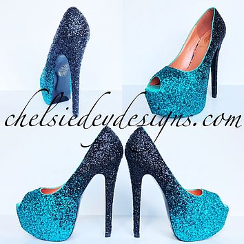 Teal Glitter Peep Toe Pumps, Black Ombre Wedding Open Toe High Heels