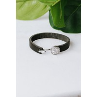 Rhinestone Circle Leather Cuff (Sale)
