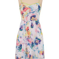 High-low floral pleated front dress