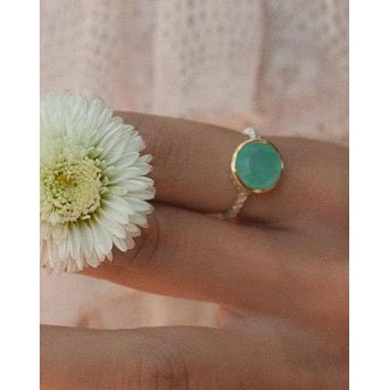 Julie Ring * Teal Chalcedony  * Sterling Silver 925 * BJR078