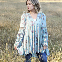 Free People Just The Two Of Us Tunic in Turkish Sea Combo