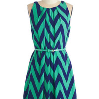 Mid-length Sleeveless A-line Great Wavelengths Dress in Jade