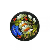 Brooch (pin) wooden hand-painted flowers oil paints.