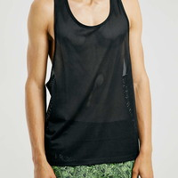 Black Mesh Slim Gym Tank