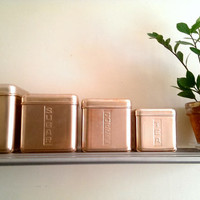 Pink Aluminum Nesting Canisters/ Italian Canisters/ Rose Canisters/ Rare Vintage Kitchen Square Canisters