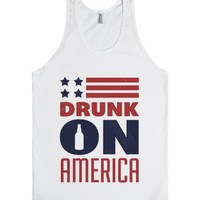Drunk On America-Unisex White Tank