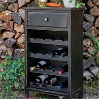Rustic Distressed Wine Cabinet with Wine shelves - Black