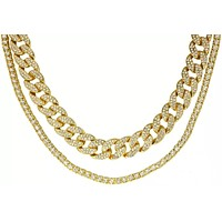 Crystal Cuban Link Chain Necklace Set