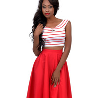 Red & White Stripe Knotted Off The Shoulder Crop Top