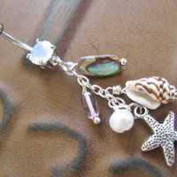 Belly Button Jewelry Ring- Abalone Real Seashell Shell Beach Mermaid Starfish Star Fish Pearl Opal Long Charm Navel Piercing Bar Barbell