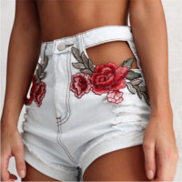 Fashion Sexy embroidery flower holes washed cowboy shorts