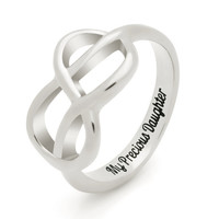 """Daughter Gift - Infinity Promise Daughter Ring Engraved on Inside with """"My Precious Daughter"""", Sizes 6 to 9"""