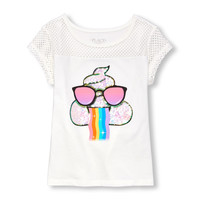 Girls Short Sleeve Embellished Mesh Graphic Top | The Children's Place