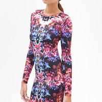 FOREVER 21 Kaleidoscopic Floral Dress Purple/Blue