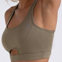 Gymshark Sleek Sculpture Sports Bra - Khaki Wash