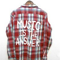 MUSIC IS THE ANSWER Vintage Flannel Shirt - MEDIUM - 00903