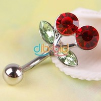 New Rhinestone Red Cherry Navel Belly Button Barbell Ring Body Piercing SS