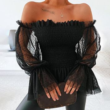 Sexy Off Shoulder Blouse Women Mesh Flare Sleeve Shirts Fashion Sheer Long Sleeve Lace Frill Blouser Tops
